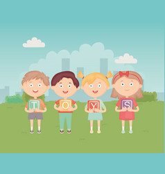 kids holding blocks with alphabet in park vector image