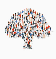 large group people in form tree vector image
