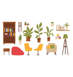 living room furniture scandinavian furnitures vector image