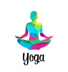 Lotus yoga pose icon abstract vector