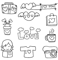 Love with hand draw doodles vector