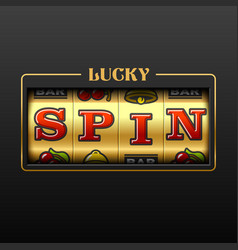 Lucky spin slot machine casino banner vector