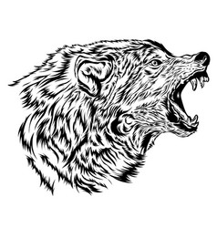 Mad wolf logo design in hand drawn style vector