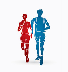 Man and woman running together couple marathon vector