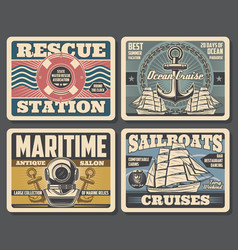 Marine antique salon sailboat ocean cruises vector