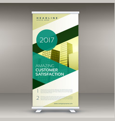 Modern green roll up banner standee design vector