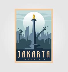 Monument national jakarta vintage poster symbol vector