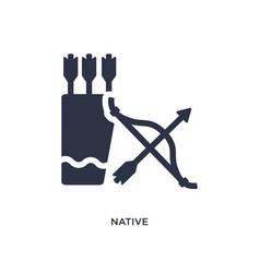 Native amertican arrows and quiver icon on white vector