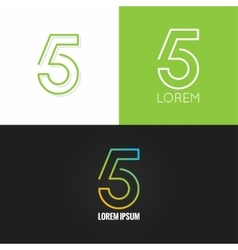 Number five 5 logo design icon set background vector image