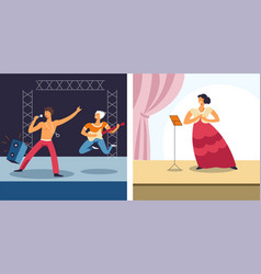 opera and rock concert singers and musicians vector image