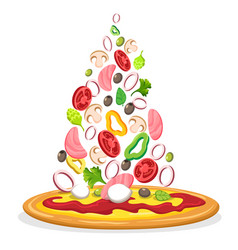 pizza with falling ingredients poster vector image