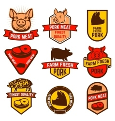 Pork meat butcher shop labels vector image
