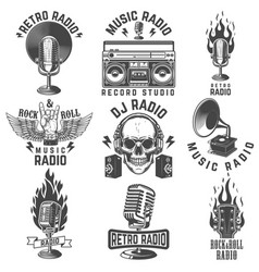 radio labels retro record studio rock vector image