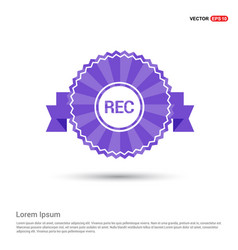 recording icon - purple ribbon banner vector image