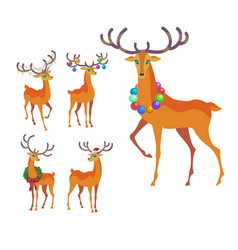 Reindeer christmas icon graceful deer collection vector