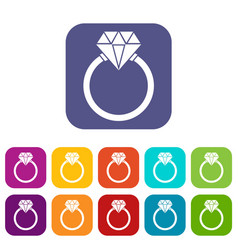 Ring lgbt icons set vector