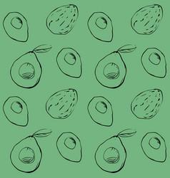 Seamless pattern an avocado outline vector