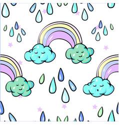 seamless pattern cute rainbow clouds sun raining vector image
