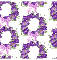 Seamless pattern from wreath of purple crocus vector image