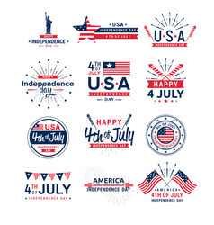 Set 4th july greeting vector