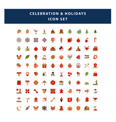 set celebration and holidays icon with flat vector image