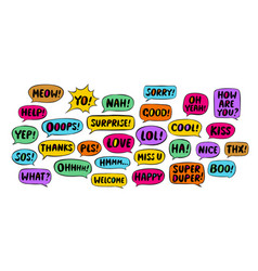 set comic speech bubbles chat message concept vector image