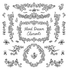 set hand drawn dividers floral decor vector image