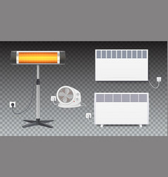 set icons of heaters household appliances on vector image