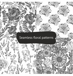 Set of seamless black and white patterns with vector