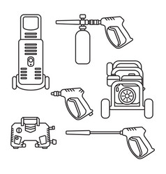 set pressure washer machine electric vector image