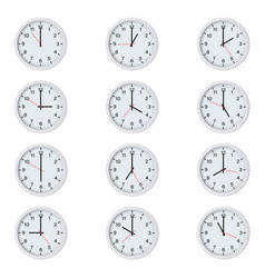 set round clocks with various time vector image