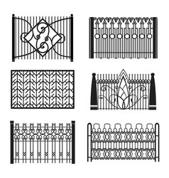 Set wrought-iron fencing vector