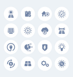 Solar energy icons set alternative energetics vector