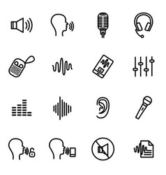 speech recognition device signs black thin line vector image