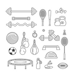 Sports equipment linear icons set fitness vector