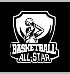 Star player doing shot in basketball championship vector
