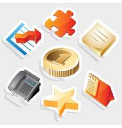 Sticker icon set for business symbols vector