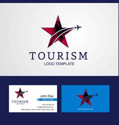 Travel albania flag creative star logo and vector