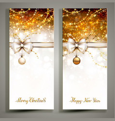 Two gold christmas greeting cards with bow vector