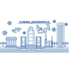 Usa florida jacksonville winter city skyline vector