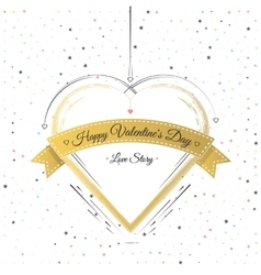 Valentines Day Card Lettering Gold Frame vector