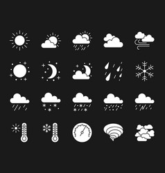 Weather white silhouette icons set vector