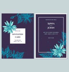 Wedding invitation card with blue jerusalem vector