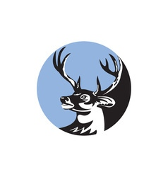 Whitetail deer buck head circle retro vector