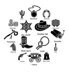 Wild west icons set simple style vector
