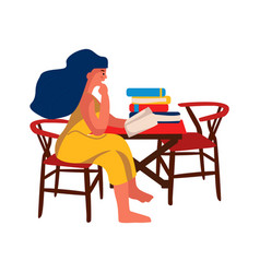 Woman reading book at home girl sitting on chair vector