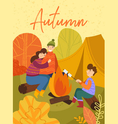 Young family enjoying a camping holiday in fall vector