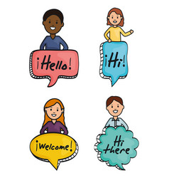 young people and speech bubbles with messages vector image
