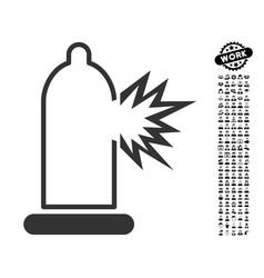 condom damage icon with people bonus vector image