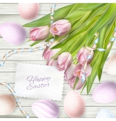 Easter eggs on wood background EPS 10 vector image